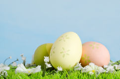 Easter Eggs on Grass with Flowers Stock Photos