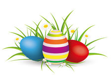 Easter Eggs Grass With Flowers Stock Photo