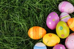 Easter eggs on grass. Easter eggs on green grass Royalty Free Stock Images