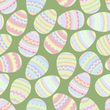 Easter eggs on grass green background seamless pattern vector royalty free illustration