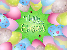 Easter eggs and grass on the green background. Vector Easter Holiday Frame Stock Image
