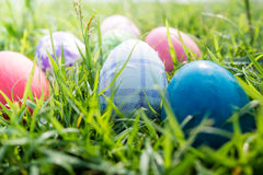 Easter eggs on grass. Easter eggs group on grass Royalty Free Stock Photos