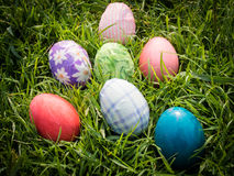 Easter eggs on grass. Easter eggs group on grass Royalty Free Stock Images