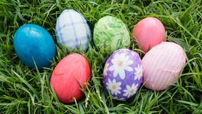 Easter eggs on grass. Easter eggs group on grass Royalty Free Stock Photography