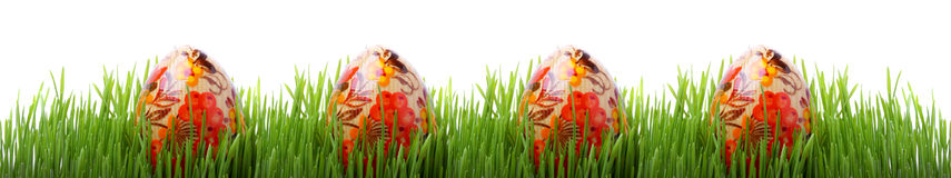 Easter eggs in the grass isolated on white Stock Photo