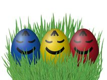 Easter eggs on grass isolated on white background Stock Photography