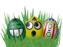 Easter eggs on grass isolated on white background Royalty Free Stock Image