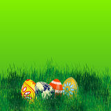 Easter eggs in grass-place for your text Royalty Free Stock Images