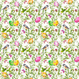 Easter eggs in grass. Seamless pattern - cute bird, flowers, butterflies. Watercolor Stock Image