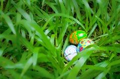 Easter eggs in grass shrub Stock Photo