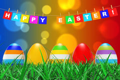 Easter Eggs in Grass under Happy Easter Sign hanging on Rope. 3d Royalty Free Stock Photography