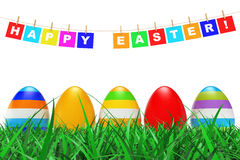 Easter Eggs in Grass under Happy Easter Sign hanging on Rope. 3d. Easter Eggs in Grass under Happy Easter Sign hanging on Rope on a white background. 3d Royalty Free Stock Photo