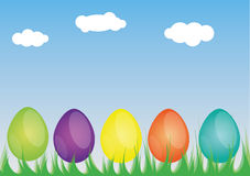 Easter eggs in the grass Stock Images