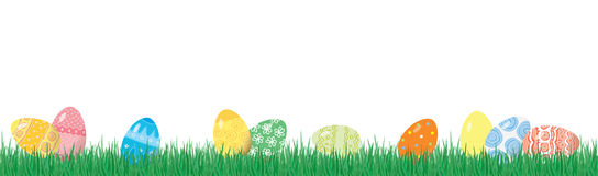 Easter eggs on the grass. On a white background, horizontal seamless background vector illustration