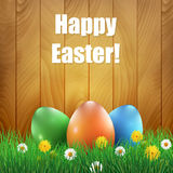 Easter eggs and grass with a wooden background. Royalty Free Stock Photography