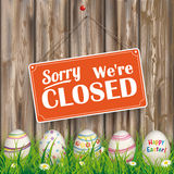Easter Eggs Grass Worn Wood Closed Royalty Free Stock Photography
