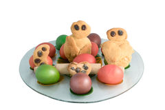 Easter eggs with Greek traditional cookies Lazarakia.  Stock Images