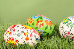Easter eggs on green Royalty Free Stock Photography