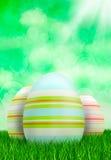 Easter eggs on green background vector illustration