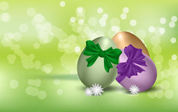 Easter eggs on green background Stock Images