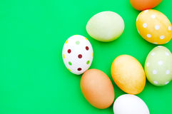Easter eggs on green background Royalty Free Stock Images