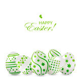 Easter eggs with green decoration Stock Photos