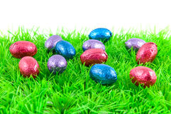 Easter eggs on green grass Stock Images