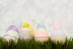 Easter eggs on green grass. Decorative easter eggs on green grass Stock Photography