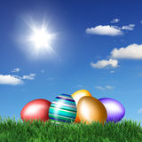 Easter eggs on green grass Stock Image