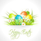 Easter eggs in green grass. With text, easter greeting card, illustration Royalty Free Stock Photography