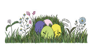 Easter eggs in green grass. Illustration Royalty Free Stock Photography