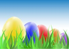 Easter eggs on the green grass Stock Image