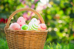 Easter eggs on green grass Stock Photo