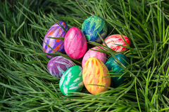 Easter eggs on the green grass Royalty Free Stock Photography