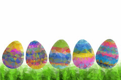 Easter eggs on green grass - abstract. Decorated multi-colored easter eggs lying on a green grass background. Ready for an Easter Egg Hunt! Polygonal easter eggs royalty free illustration
