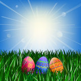 Easter eggs on the green grass. Against the blue sky with the sun Royalty Free Stock Photo