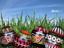 Easter eggs on the green grass background Stock Photography
