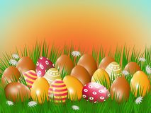 Easter eggs in green grass. Easter eggs in a green grass background of the rising sun Royalty Free Stock Image
