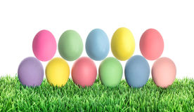 Easter eggs in green grass. Colorful holidays decoration Royalty Free Stock Photos