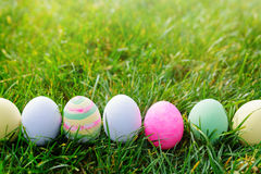 Easter eggs in green grass Royalty Free Stock Photography