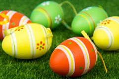 Easter eggs on green grass. royalty free stock photography