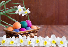 Easter eggs in green grass. Festive decoration. Happy Easter royalty free stock photography