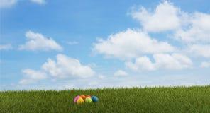 Easter eggs green grass field 3d-illustration. Image royalty free illustration