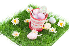 Easter eggs on the green grass Royalty Free Stock Photo
