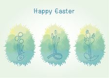 Easter eggs in green grass with flowers inside, on blue background. Vector element for design. Easter eggs in green grass with flowers inside, on blue background Royalty Free Stock Photo