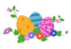 Easter eggs in green grass with flowers, isolated on white background. Vector illustration. Easter eggs in green grass with flowers, isolated on white Royalty Free Stock Image