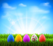 Easter eggs. In Green Grass on the glade Stock Photos