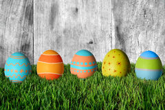 Easter eggs in green grass. Happy Easter Royalty Free Stock Photos