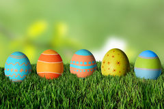 Easter eggs in green grass. Happy Easter Royalty Free Stock Image