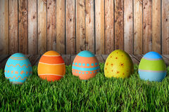 Easter eggs in green grass. Happy Easter Stock Photo